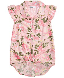Big Girls Floral-Print Tie-Front Top, Created for Macy's