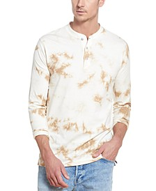Men's Tie-Dye Long Sleeve Henley Shirt