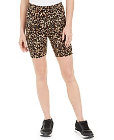 INC Women's Leopard-Print Bike Shorts, Created for Macy's