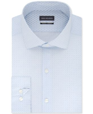 Macys Van Heusen Regular Fit Wrinkle Free Cotton Blend Gray Pincord Dress Shirt