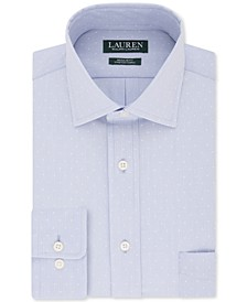 Men's Heritage Classic/Regular-Fit Non-Iron UltraFlex Performance Stretch Atlantic Blue Dot Stripe Dress Shirt