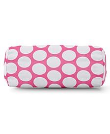 "Large Polka Dot Decorative Round Bolster Pillow 18.5"" x 8"""