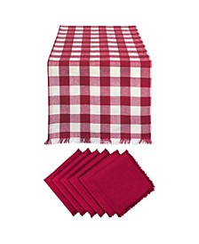 Heavyweight Check Fringed Table Runner and Napkin, Set of 7