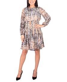 Petite Dot-Print Pleated-Skirt Dress