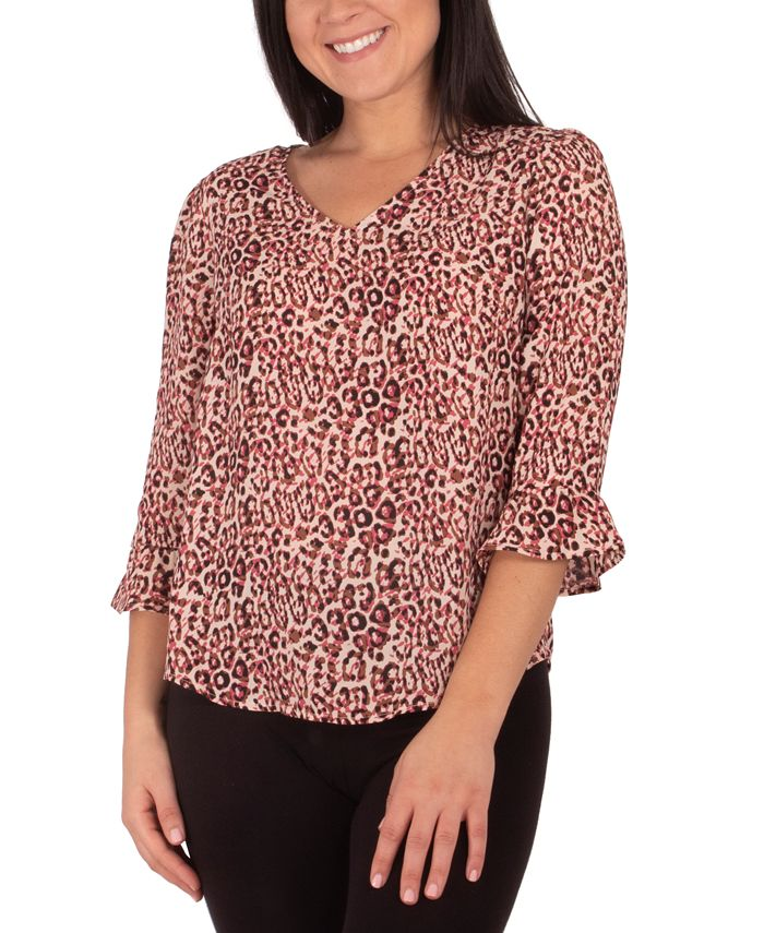 NY Collection - Petite Printed High-Low Top