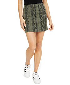 Tinseltown Juniors' Printed-Denim Mini Skirt