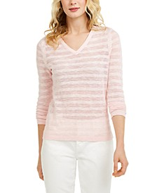 Striped Pointelle-Knit Cotton Sweater