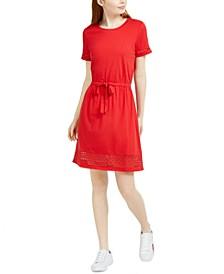 Drawstring-Waist Eyelet-Trim Dress