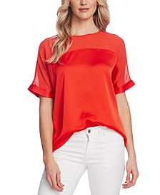 Chiffon-Yoke Charmeuse Top
