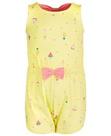 Baby Girls Cotton Ice Cream Bow-Back Romper, Created for Macy's