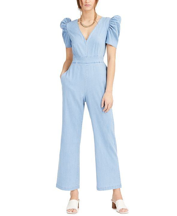 Bar III Puff-Shoulder Denim Jumpsuit, Created for Macy's