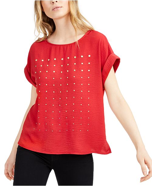 Vince Camuto Studded Cuffed-Sleeve Top