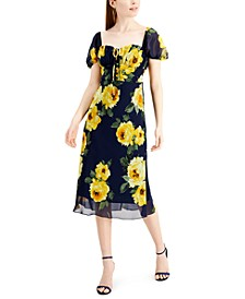 Juniors' Floral-Print Puff-Sleeve Midi Dress