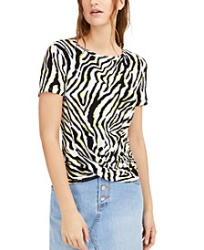 Zebra-Print Twist-Hem Top, Created for Macy's