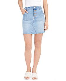 Bar III Button-Fly Denim Skirt, Created for Macy's