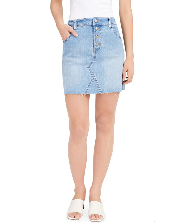 Bar III Button-Fly Denim Skirt, Created for Macy's