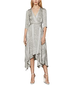 Snake-Embossed Wrap Dress