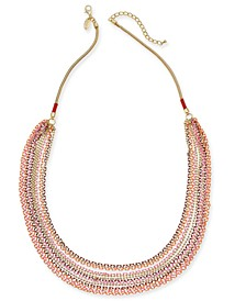 "Gold-Tone Colorful Multi-Strand Statement Necklace, 31"" + 3"" extender, Created for Macy's"