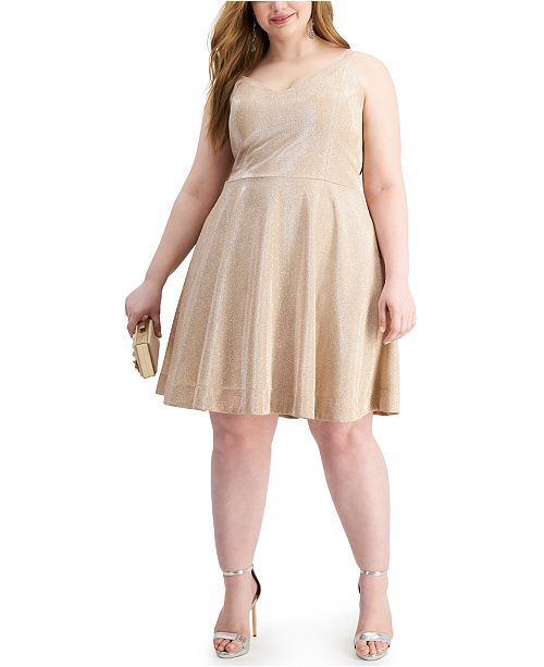 Speechless Trendy Plus Size Glitter-Knit Fit & Flare Dress