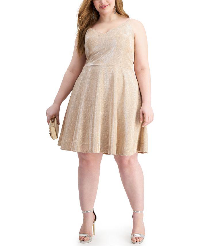 Speechless - Trendy Plus Size Glitter-Knit Fit & Flare Dress
