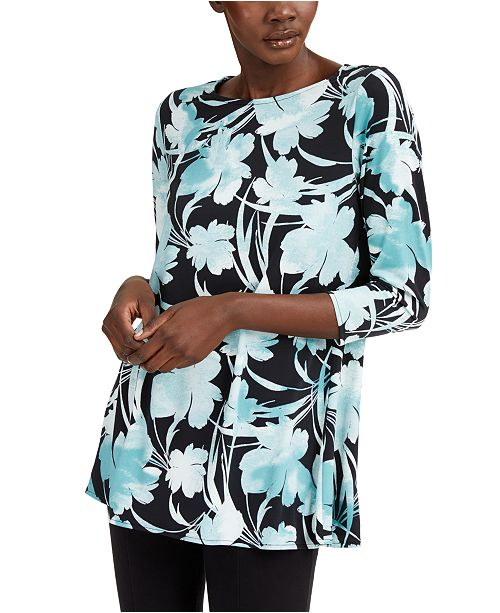 Alfani Petite Printed Straight Swing Top, Created for Macy's