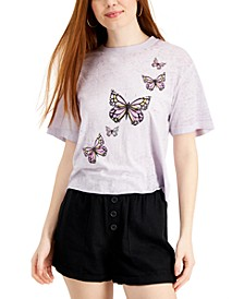 Juniors' Butterfly Graphic T-Shirt