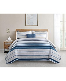 Skye Stripe 4-Piece Full/Queen Quilt Set