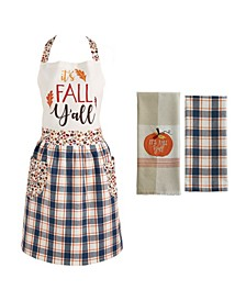 It's Fall Y'All Tablecloth and Apron, Set of 3