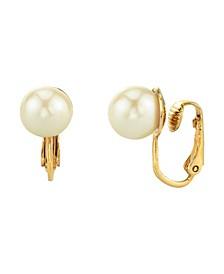 14K Gold-Dipped Imitation Pearl Clip Earrings