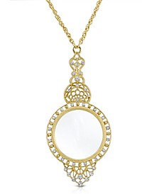 "Gold Tone Crystal Filigree Magnifying Glass 30"" Necklace"