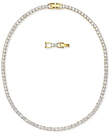"Gold-Tone Crystal Tennis Necklace, 14-7/8"" + 1/2"" extender"