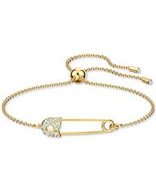 Gold-Tone Pavé Safety Pin Slider Bracelet