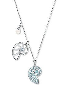 "Silver-Tone White & Blue Crystal Shell Pendant Necklace, 16-1/2"" + 2"" extender"