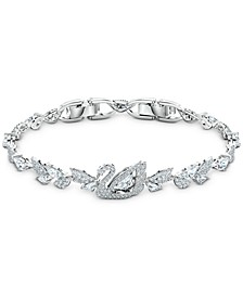 Silver-Tone Crystal Swan Link Bracelet