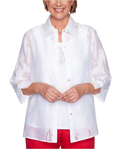 Alfred Dunner Petite Two-In-One Ship Shape Top