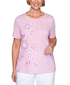 Petite Petal Pushers Floral-Embroidered Top