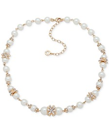 """Gold-Tone Imitation Pearl Collar Necklace, 16"""" + 3"""" extender"""