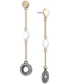 Tri-Tone Crystal Drop Earrings