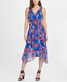 Floral Chiffon V-Neck Midi Wrap Dress with Belt