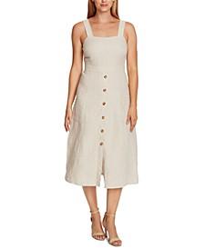 Petite Linen Button-Front Dress