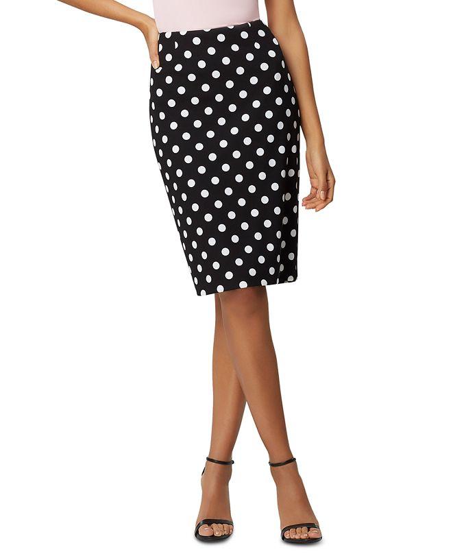 Kasper Polka-Dot Slim Skirt