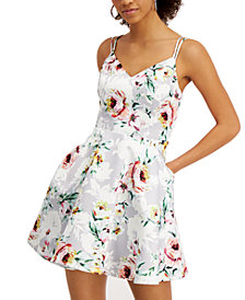 City Studios Juniors' Floral-Print Fit & Flare Dress
