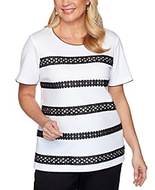 Petite Checkmate Grommet Lace Biadere Top