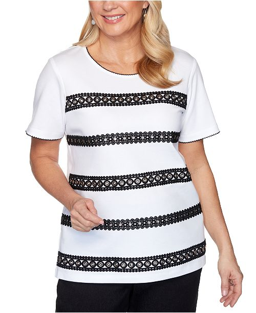 Alfred Dunner Petite Checkmate Grommet Lace Biadere Top