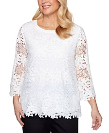 Petite Checkmate Floral Lace Top