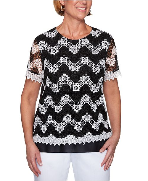 Alfred Dunner Petite Checkmate Striped-Lace Top