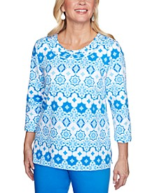 Petite Sea You There Geo-Print Embellished Top