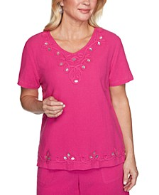 Petite Laguna Beach Cotton Appliqué Button-Trim Top
