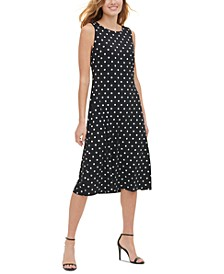 Sleeveless Polka Dot Midi Dress