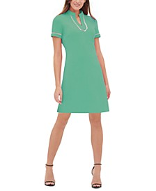 Short-Sleeve Lace-Trim Sheath Dress